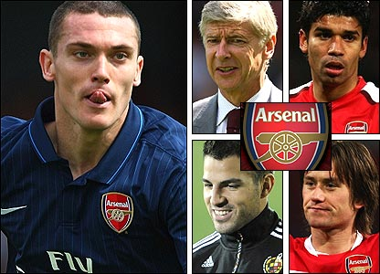 Clockwise from left: Thomas Vermaelen; Arsene Wenger; Eduardo; Tomas Rosicky; Cesc Fabregas