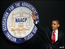 US President Barack Obama speaks at the 2009 NAACP convention