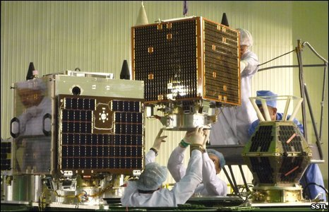 DMC satellites integrated with launcher (SSTL)
