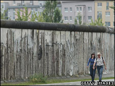 One of the few surviving sections of the Berlin Wall