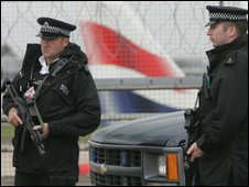 Armed Met officers at Heathrow Airport