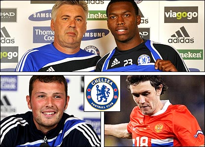 Clockwise from top: Carlo Ancelotti with Daniel Sturridge; Yuri Zhirkov; Ross Turnbull
