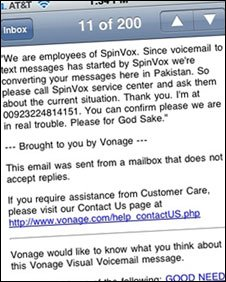 Message to Spinvox customer