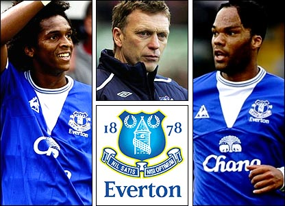 Left to right: Jo; David Moyes; Joleon Lescott