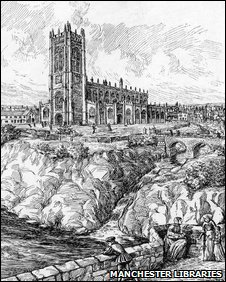 A representation of late medieval Manchester, drawn in the 1950s