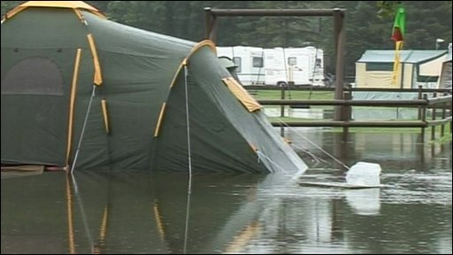 Tent in water