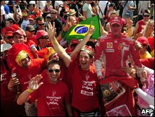 Ferrari supporters celebrating