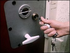 Prison keys in cell door
