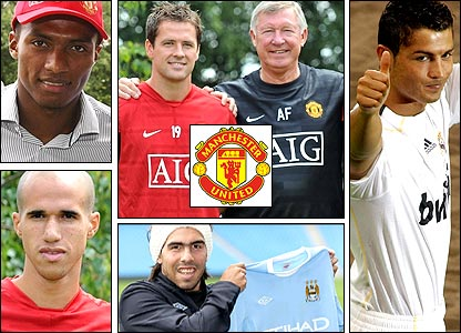 Clockwise from top left: Luis Valencia; Michael Owen with Sir Alex Ferguson; Cristiano Ronaldo; Carlos Tevez; Gabriel Obertan