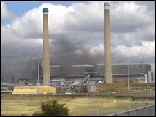 The fire at Tilbury Power Station (Picture contributed by Ian Webb)