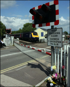 Flowers at Pencoed level crossing