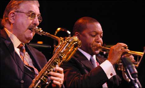 Fife saxophonist Joe Temperley (left) with jazzman Wynton Marsalis