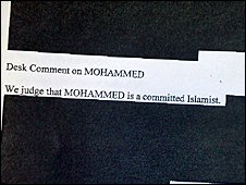 "The secret telegraph describing Mohamed as a ""committed Islamist"""