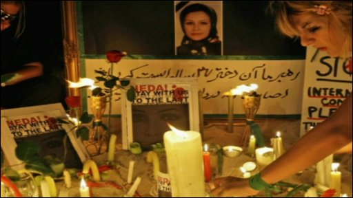 Candles in memory of Neda Agha Soltan