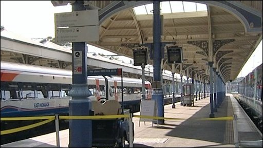 Empty train platform