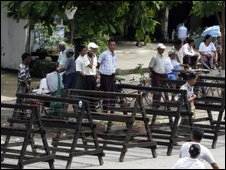 Barriers near Insein prison in Rangoon, where Aung San Suu Kyi is held and being tried - 28 July 2009