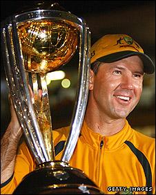 Australia skipper Ricky Ponting celebrates winning the 2007 World Cup