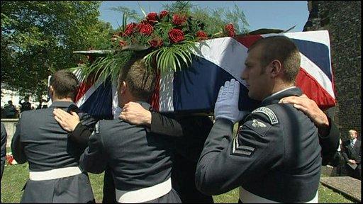The coffin of World War I veteran Henry Allingham