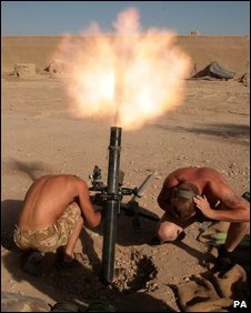British Soldiers firing on Taliban positions in February