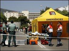 Emergency services near scene of car bombing in Majorca