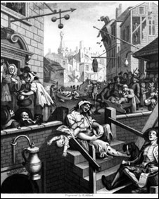 'Gin Lane and Beer Street', London, circa 1751. Original Artwork: Engraving by Adland after William Hogarth.