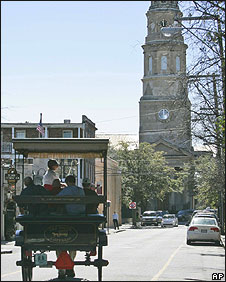 A carriage filled with visitors in Charleston, South Carolina