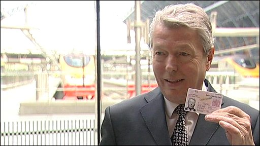 Alan Johnson displays the new national identity card