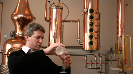 Co-founder Fairfax Hall testing the gin