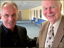 Sven-Goran Eriksson (left) and BBC Radio Nottingham's Colin Slater