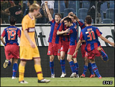 Steaua players celebrating