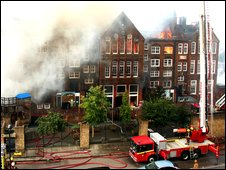 The fire at the school in Hoxton