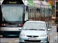 Tram and cars in Nottingham
