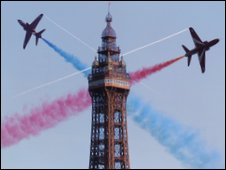 Blackpool's air show on 9 August features the Red Arrows