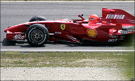 Michael Schumacher drives a 2007 Formula 1 car at Mugello on Friday