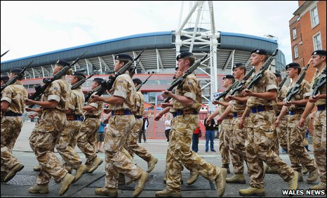 The Welsh Cavalry exercise their freedom of Cardiff by marching past the Millennium Stadium