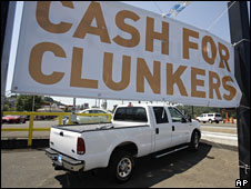 "A sign at an Oregon car-dealership saying ""Cash for Clunkers"""