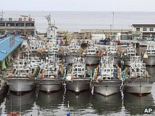 South Korean fishing boats lined up in Geojin port in Goseong, South Korea, 31 July 2009