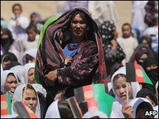 Afghan women at a campaign event for President Hamid Karzai in Wardak province