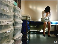 Rape victim in medical clinic