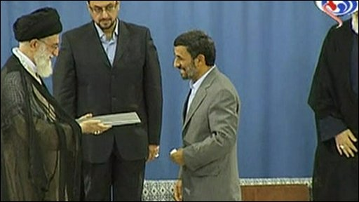 Supreme Leader Ayatollah Ali Khamenei and Mahmoud Ahmadinejad
