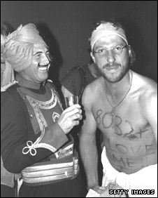 Geoff Boycott and Ian Botham at a fancy dress party in India in 1981