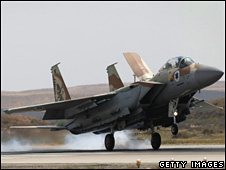 An Israeli air force F-15 fighter jet lands at the Hatzerim air base, on 30 March 30