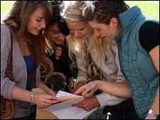 students comparing exam results