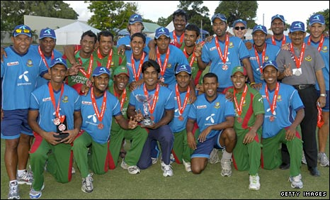 Bangladesh celebrate after winning the ODI series