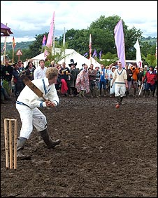 Rich and his mates playing cricket at Glastonbury in 2007