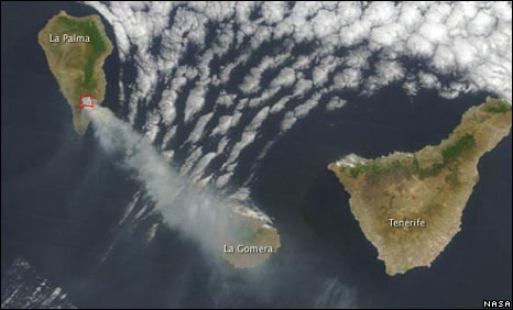 Satellite image of La Palma