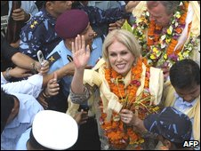 British actress and Gurkha campaigner Joanna Lumley greets wellwishers as she arrives in the Nepali town of Dharan on 28 July 2009