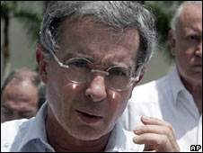 Colombian President Alvaro Uribe. Photo: July 2009