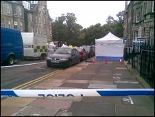 Police cordon in North Castle Street