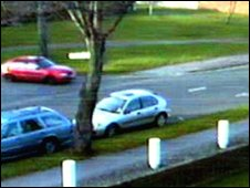 The red Daewoo Nexia car in Walton-on-Thames on March 21, 2002
